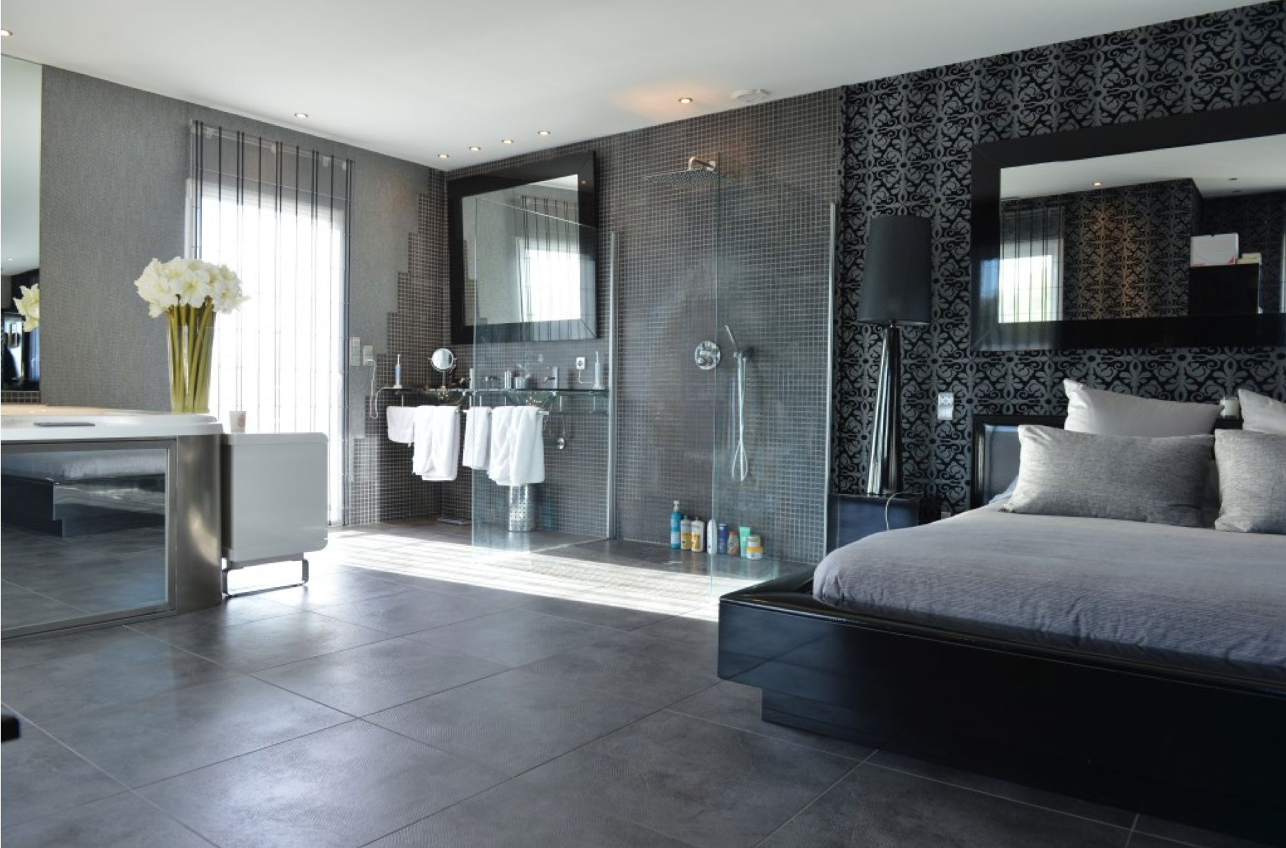 chambre avec dressing et salle de bain en 55 id es salle. Black Bedroom Furniture Sets. Home Design Ideas