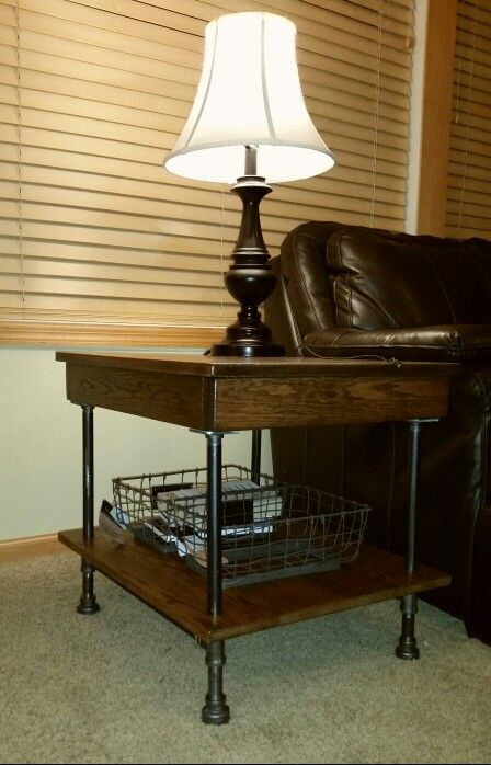Black Iron Pipe And Oak Pallet Wood End Table Coffee
