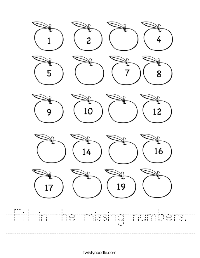 Missing Number Worksheets 120 – Missing Number Worksheets