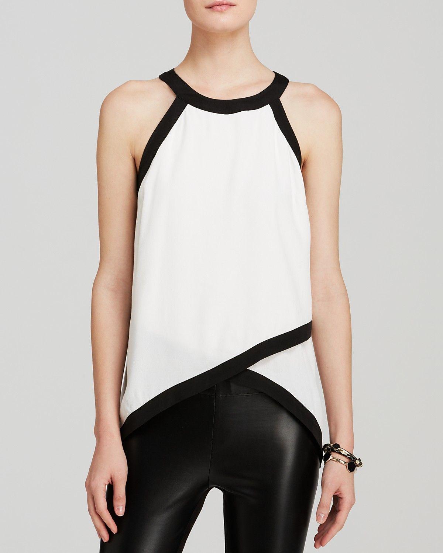AQUA Top - Tipped Sleeveless Cross Front   Bloomingdale\'s   Moda ...