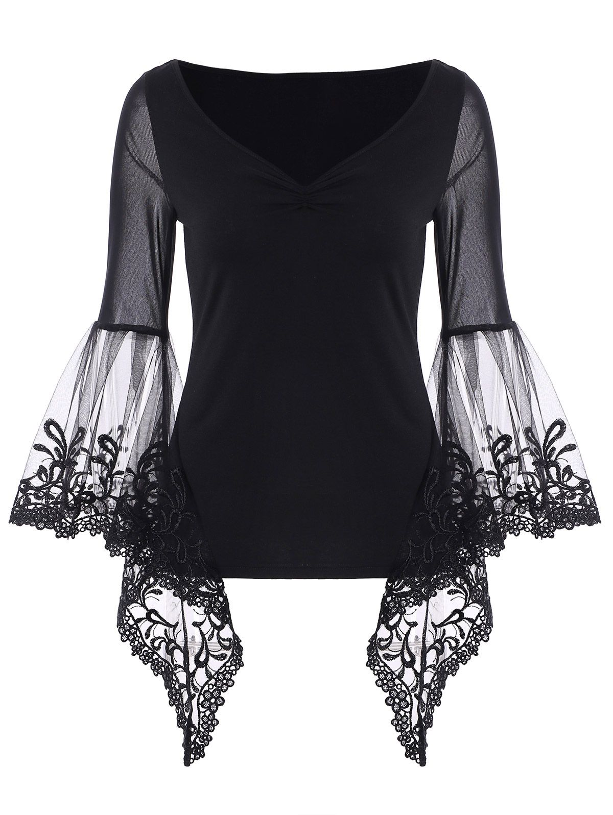 4578b62b7deb ... Tops For Women Fashion Sale Online. Bell Sleeve Sheer Lace Panel T-Shirt