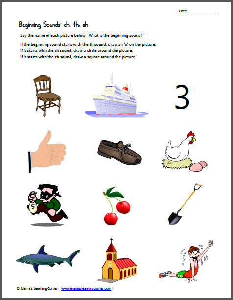 Worksheets Ch Sound Worksheets beginning sounds ch th sh following directions vowel sh