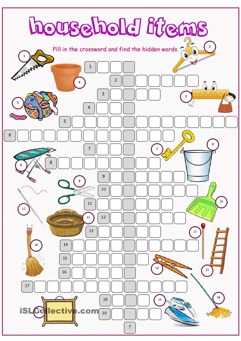 Household Items Crossword Puzzle Household Items English