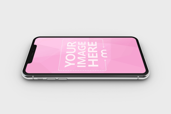 Download A Classic 3d Iphone Mockup Featuring The Smartphone Lying On A Solid Color Surface Perfect Scene For Showcasing A L Iphone Mockup Photoshop Mockup Free Iphone