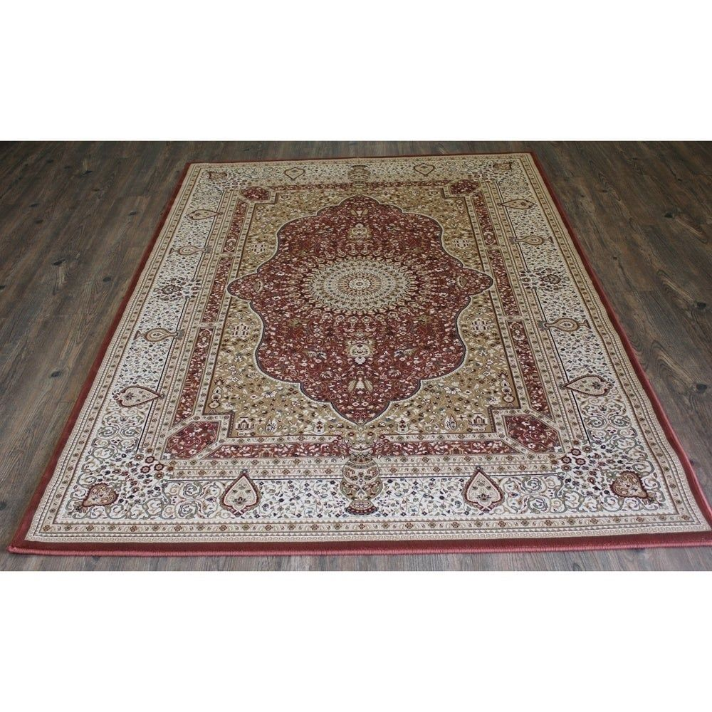 Rust Isfahan Persian Area Rug 5 3 X 7 5 Orange Brown Blue Rugs