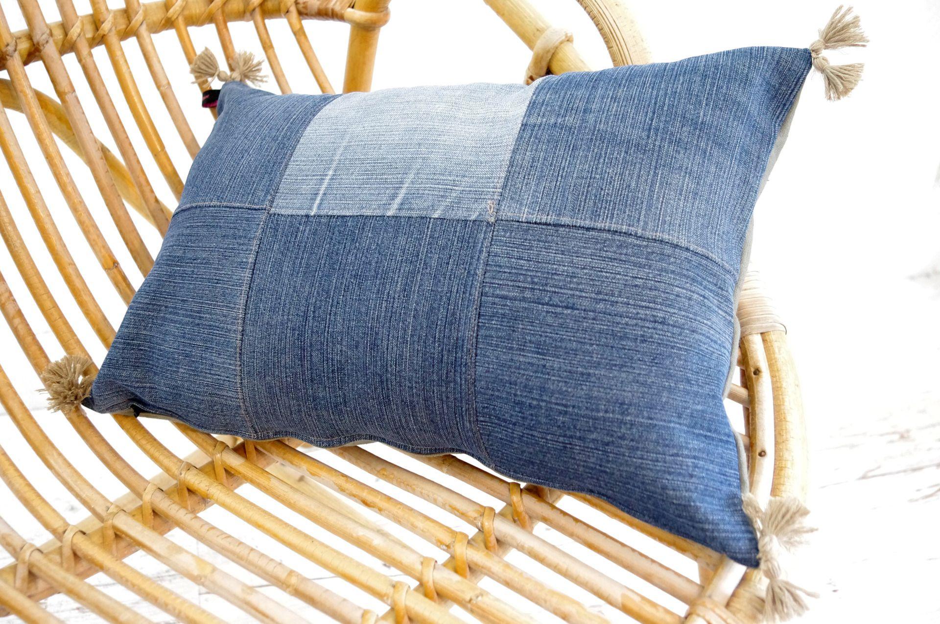 Coussin en patchwork de jean et lin kaki textiles et tapis par