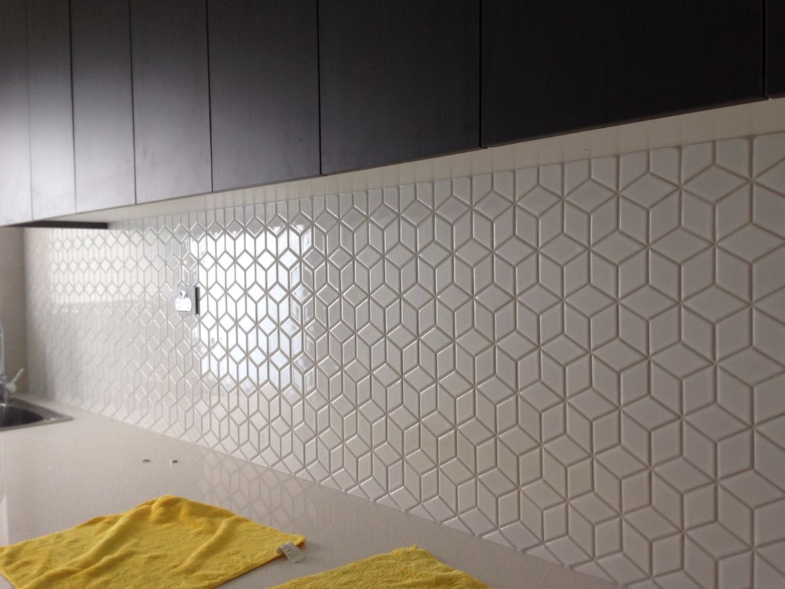 Kitchen Tiled Splashback Beautiful Geometric Tiled Splashback White Kitchen Timber
