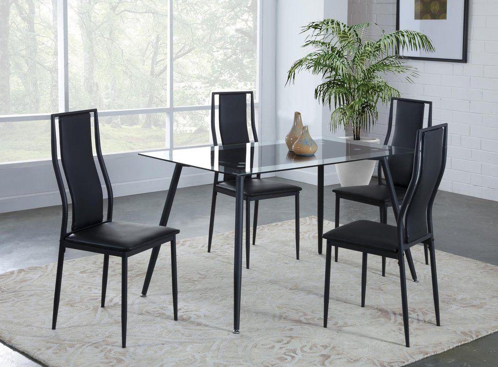 Delta Black Glass Top Dinette Set My Furniture Place Dinette Sets Dinette My Furniture