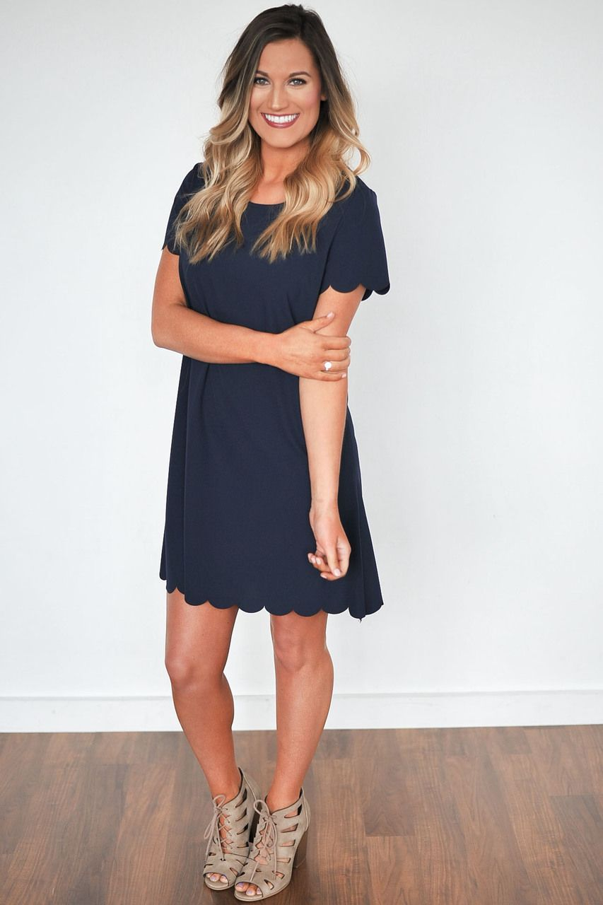 Easter Dottie Couture Scalloped Dress Shift Navy Nautical Spring Fashion 2017