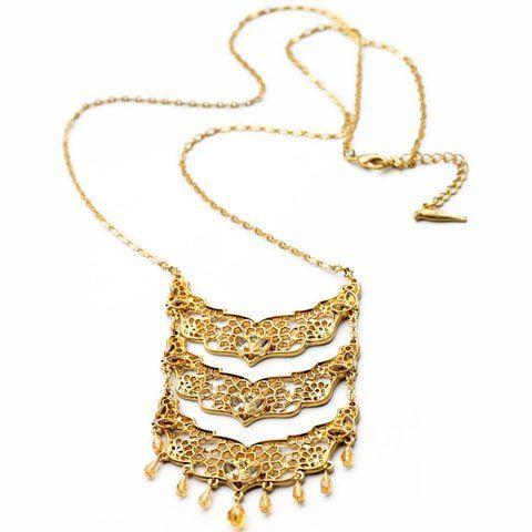 $6.94 Unique Multi-Layered Hollow Flower Pendant Necklace For Women