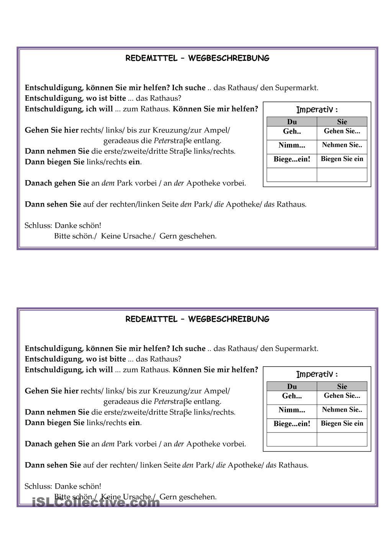 Redemittel Wegbeschreibung | Deutsch, Learn german and German language