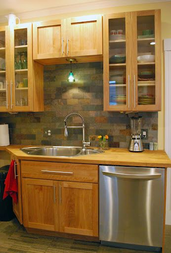 Red birch cabinets with a slate tile backsplash: nice and earthy ...