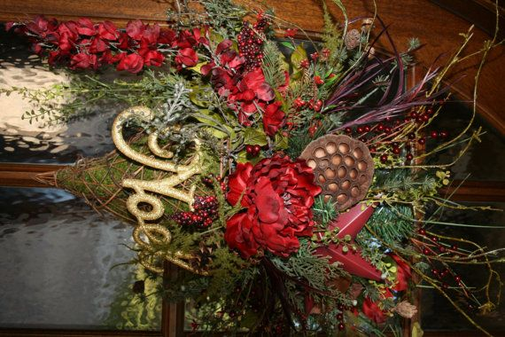 Wall pocket christmas floral Holiday floral by WreathsOnYourDoor