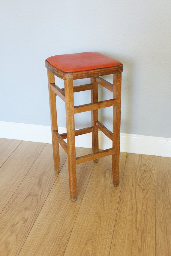 Vintage Tall Wooden Stool With Red Vinyl Seat Wooden Stools