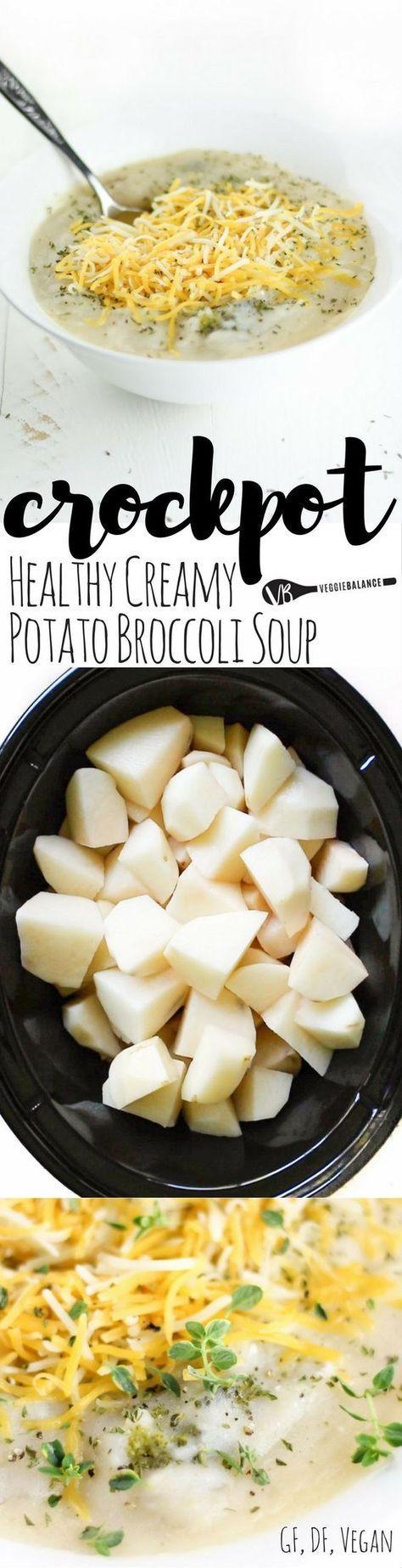Dairy Free Crockpot Broccoli Potato Soup Recipe Made Healthy It S Delicious It S Creamy And It Is Chock Full Of P Vegan Crockpot Recipes Vegetarian Crockpot