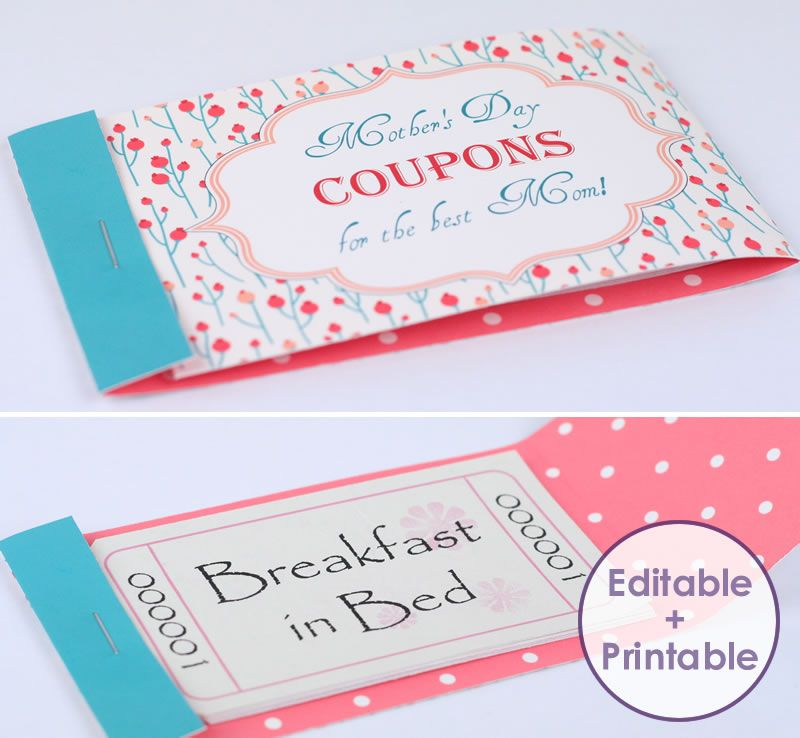 Try Our Mothers Day Coupon Maker   Print Your Coupons At Home And Secure  Into A Little Booklet With A Choice Of Two Gorgeous Patterned Covers  Print Your Own Voucher