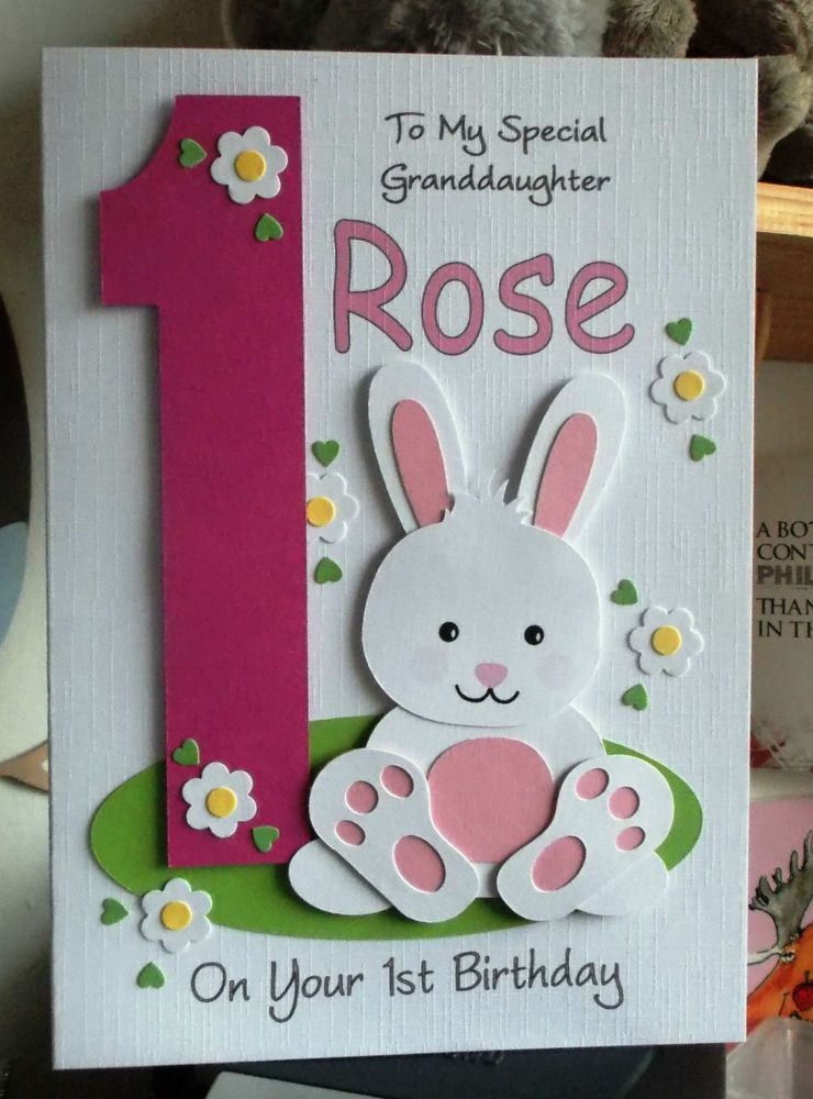 Personalised 1st Any Age Bunny Rabbit Birthday Card Daughter Granddaughter Etc