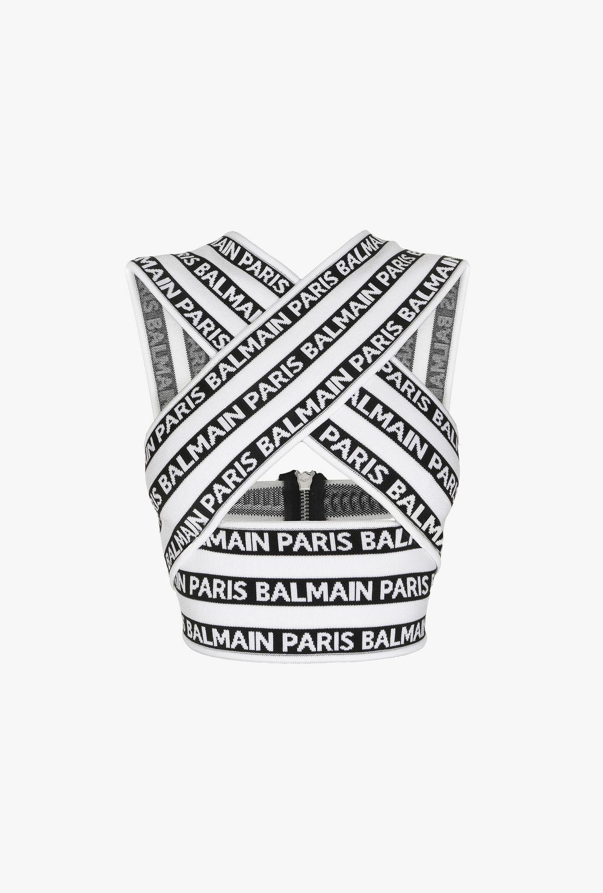 c649c7f450ac15 BALMAIN Knit Balmain logo crop top Top Woman f | Balmain in 2019 ...
