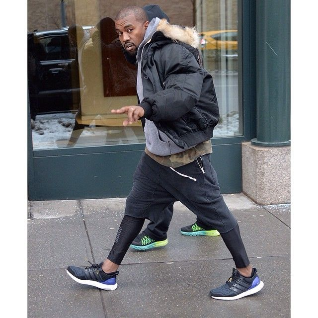kanye wearing the adidas ultra boosts photo taken by yeezyboosts on instagram pinned via the instapi