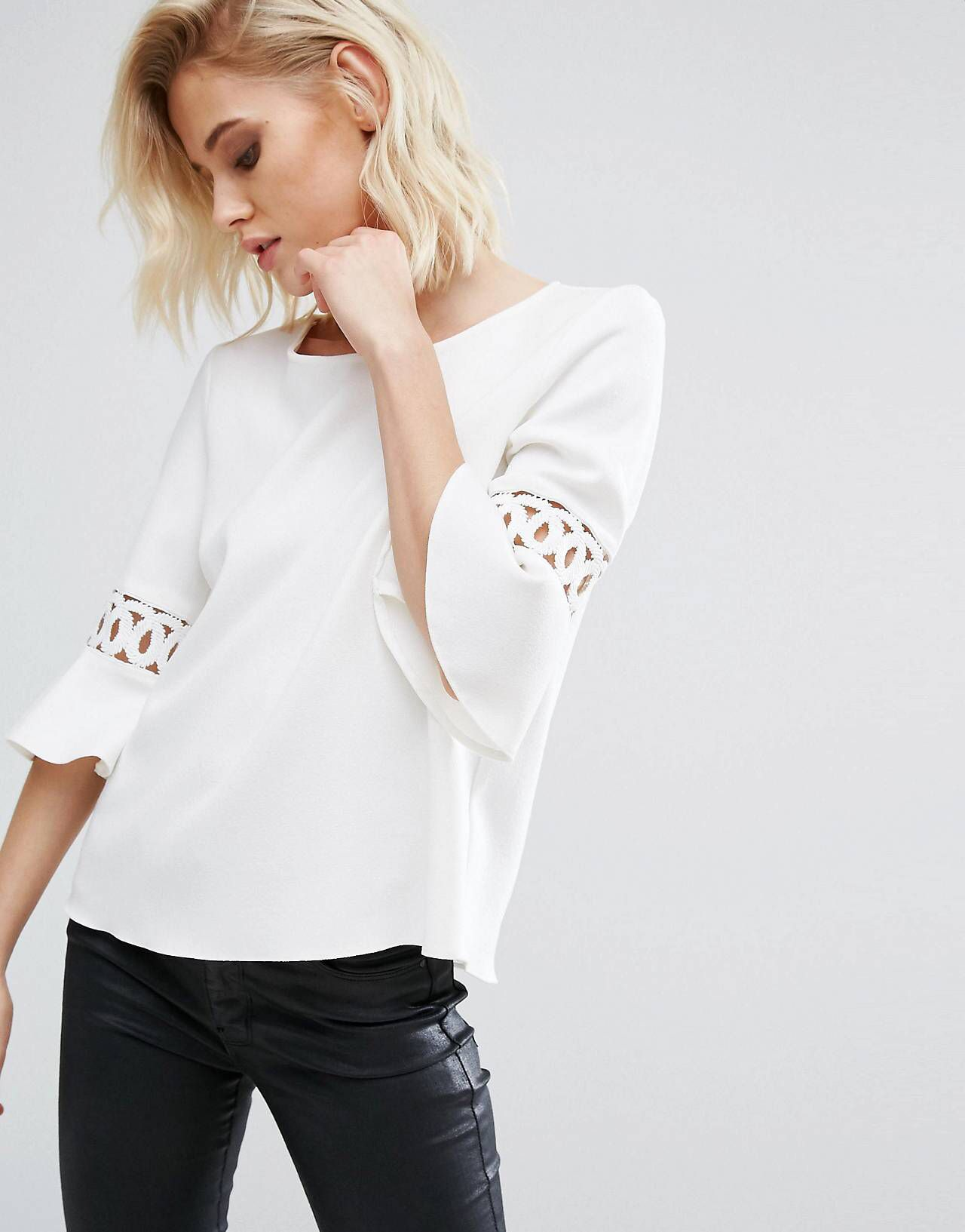 f5fb7c45e1 River Island Fluted Sleeve Top With Lace Inserts   Cory in Italy ...
