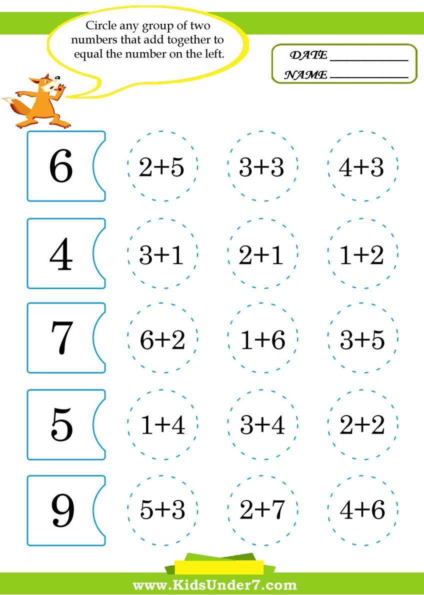Kids Under 7 Math Kindergarten Math Activities Math Addition Worksheets Math Activities Preschool [ 1190 x 848 Pixel ]