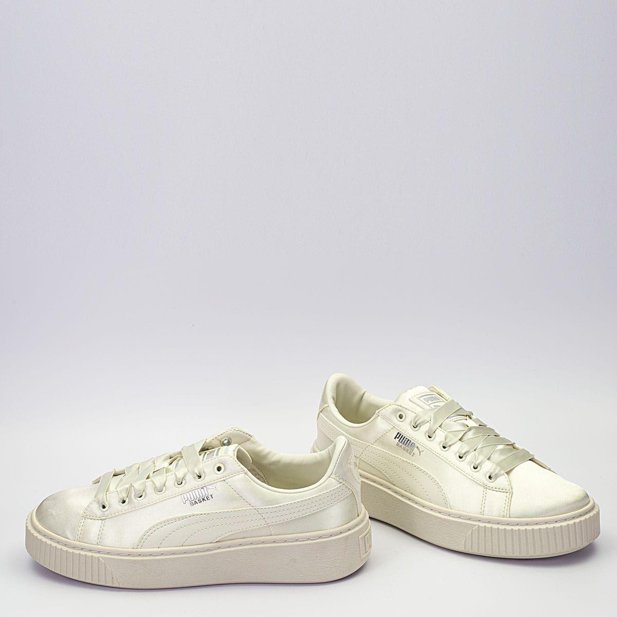 best sneakers 23ed6 ecceb Puma Basket Platform Tween JR λευκό, με satin υλικό, satin ...