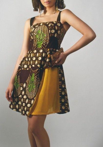 Tina Lobondi Taupe Ankara Dress with Straps by Tina Lobondi