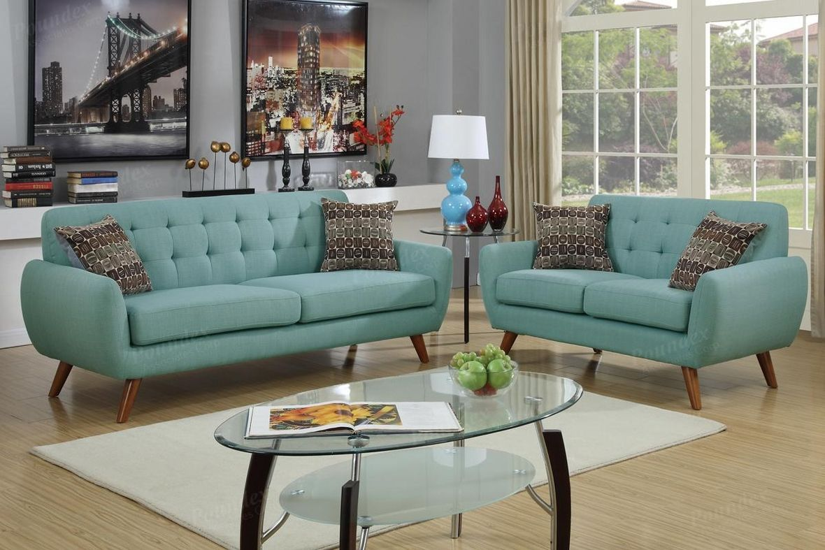 Poundex Cosmo F6914 Green Fabric Sofa And Loveseat Set Steal A Sofa Furniture Outlet Los Angeles Living Room Sofa Set Living Room Sets Sofa And Loveseat Set
