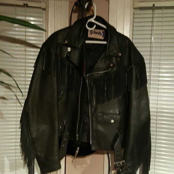 Schott vintage discontinued fringe leather jacket Men's size 46 80's glam rock fringe leather jacket, like new, heavy biker quality leather. No flaws or sign of use. schott Jackets & Coats