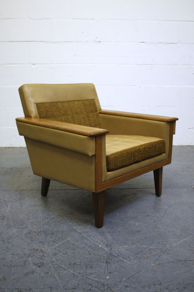 Vintage Scandinavian Cream Leather Teak Armchair Retro Chair 1960s In Antiques Antique Furniture Chairs Ebay