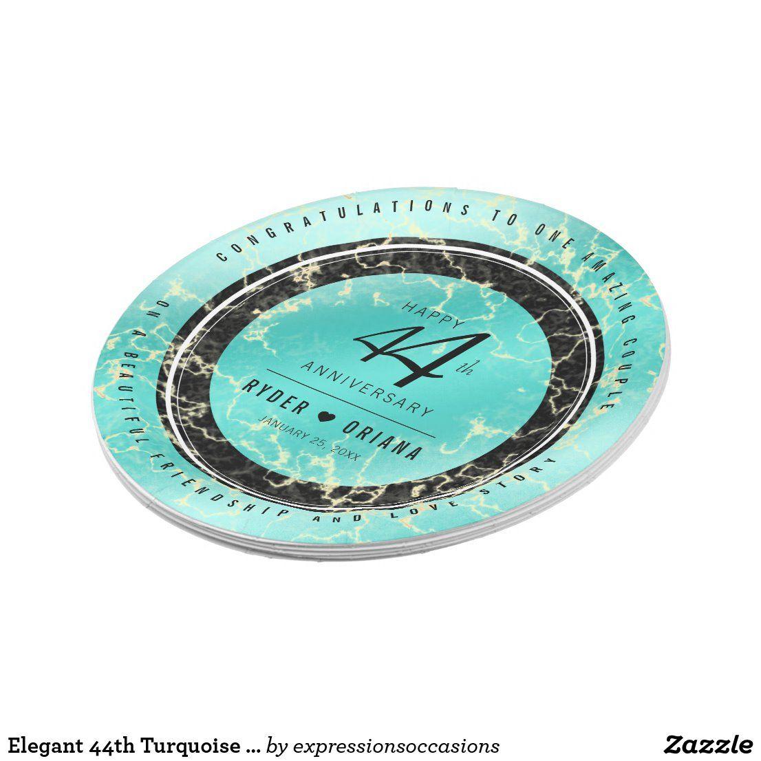 Elegant 44th Turquoise Wedding Anniversary Paper Plate