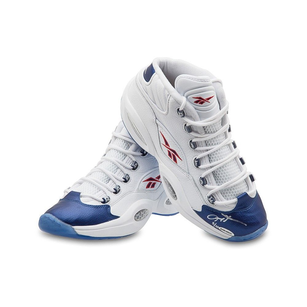 283ab07251e ... ALLEN IVERSON Autographed Reebok Question Mid Shoes With Blue Toe UDA  LE 30 - Game Day ...