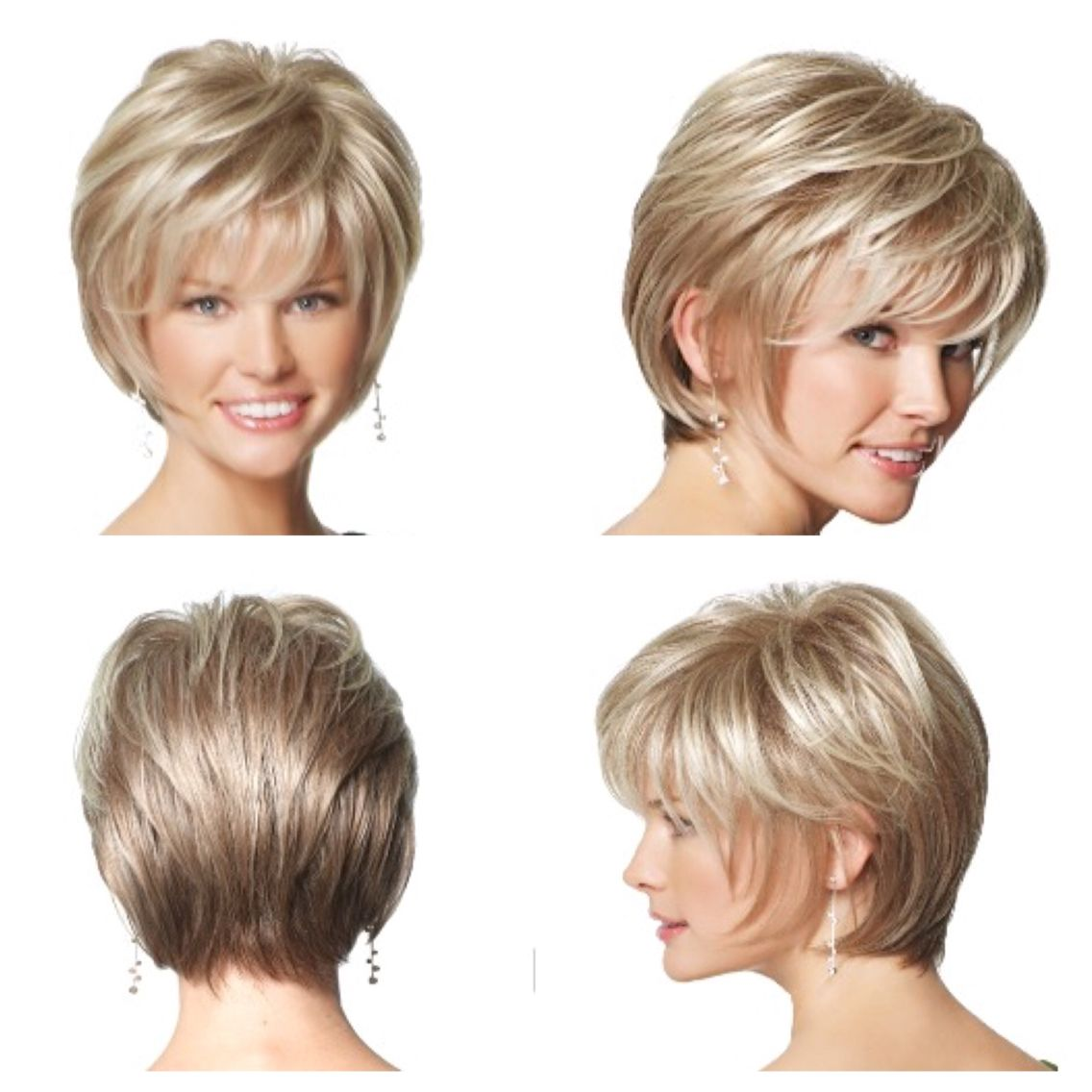 Foursided view of short hair cut for thick hair haircut