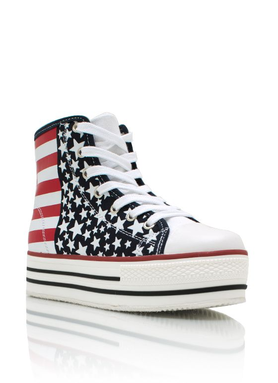 These are awesome!!   American flag platform sneakers $29.70
