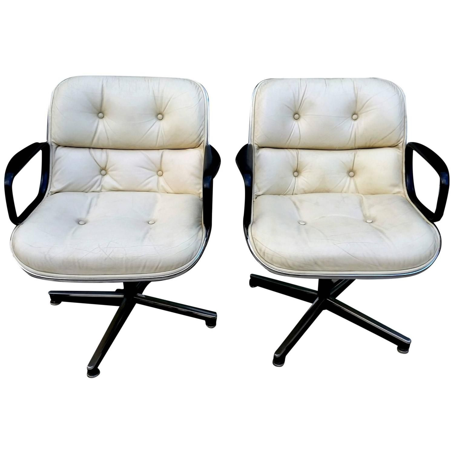 Pair Of Charles Pollock Executive Chair For Knoll In All White Leather,  1960s