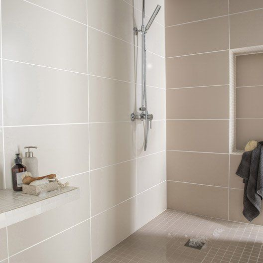 Faience mur ivoire purity l 30 x l 60 cm d coration for Carrelage mural salle de bain beige