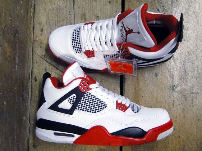Air Jordan Retro 4 Chaussures De Tennis Rouge Feu