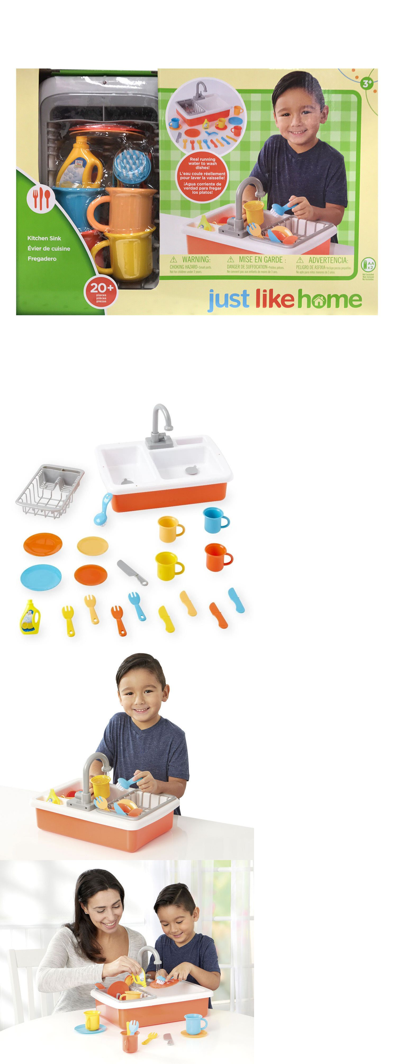 Kitchens Just Like Home Sink With Running Water And Dishes