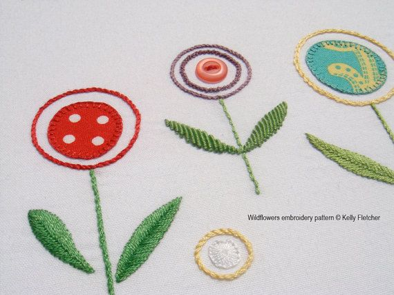 Wildflowers hand embroidery pattern by KFNeedleworkDesign on Etsy, $7.50