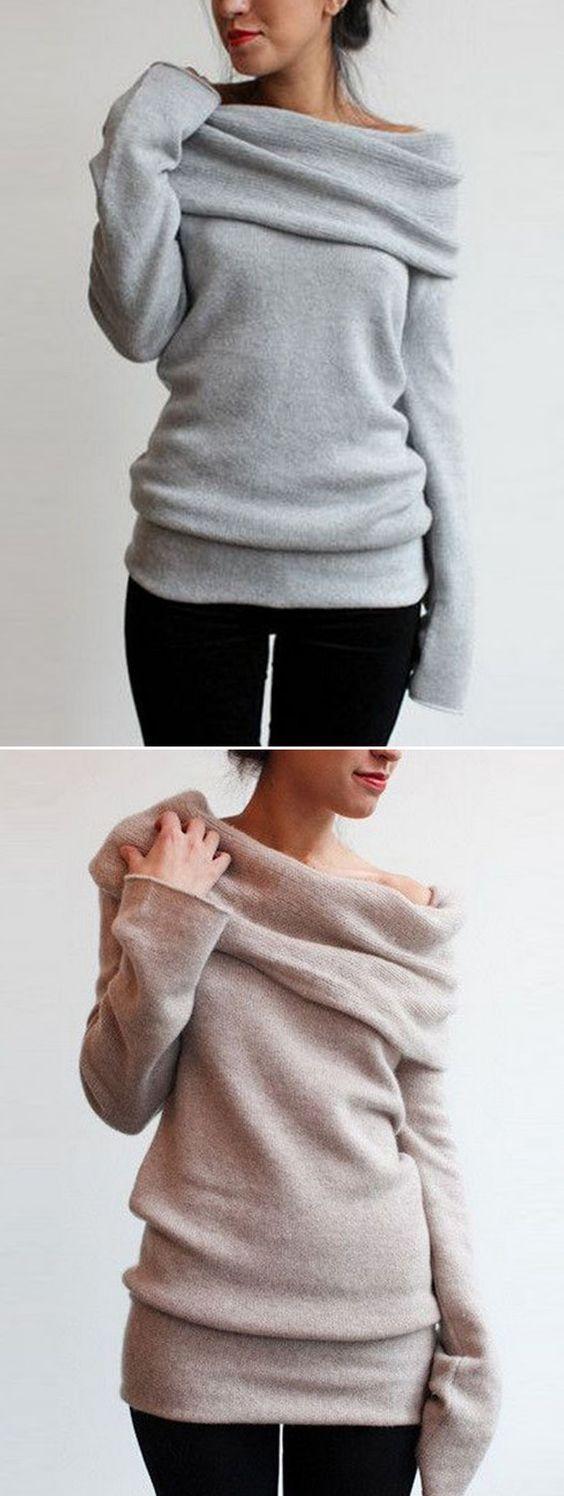 Heathered Turtleneck Off-the-Shoulder Knit Sweater | Side split ...