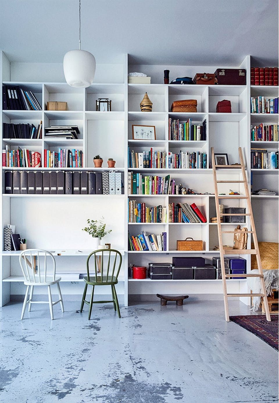 Bookshelves System From Floor To Ceiling A Whole Wall Becomes One Furniture Reach The Top With Small Library Ladder