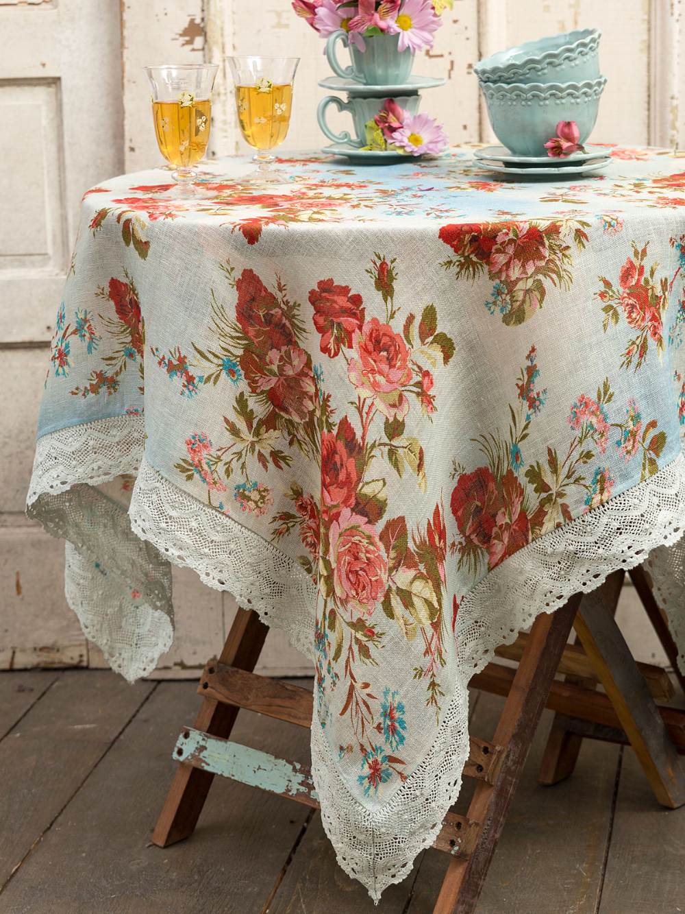 Heirloom Rose Linen Tablecloth Collections Kitchen Table