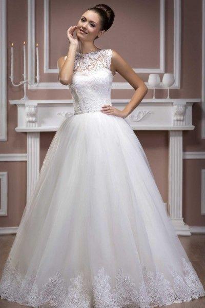 Simple Ball Gown Jewel Floor-length Tulle Fabric Designer Wedding ...