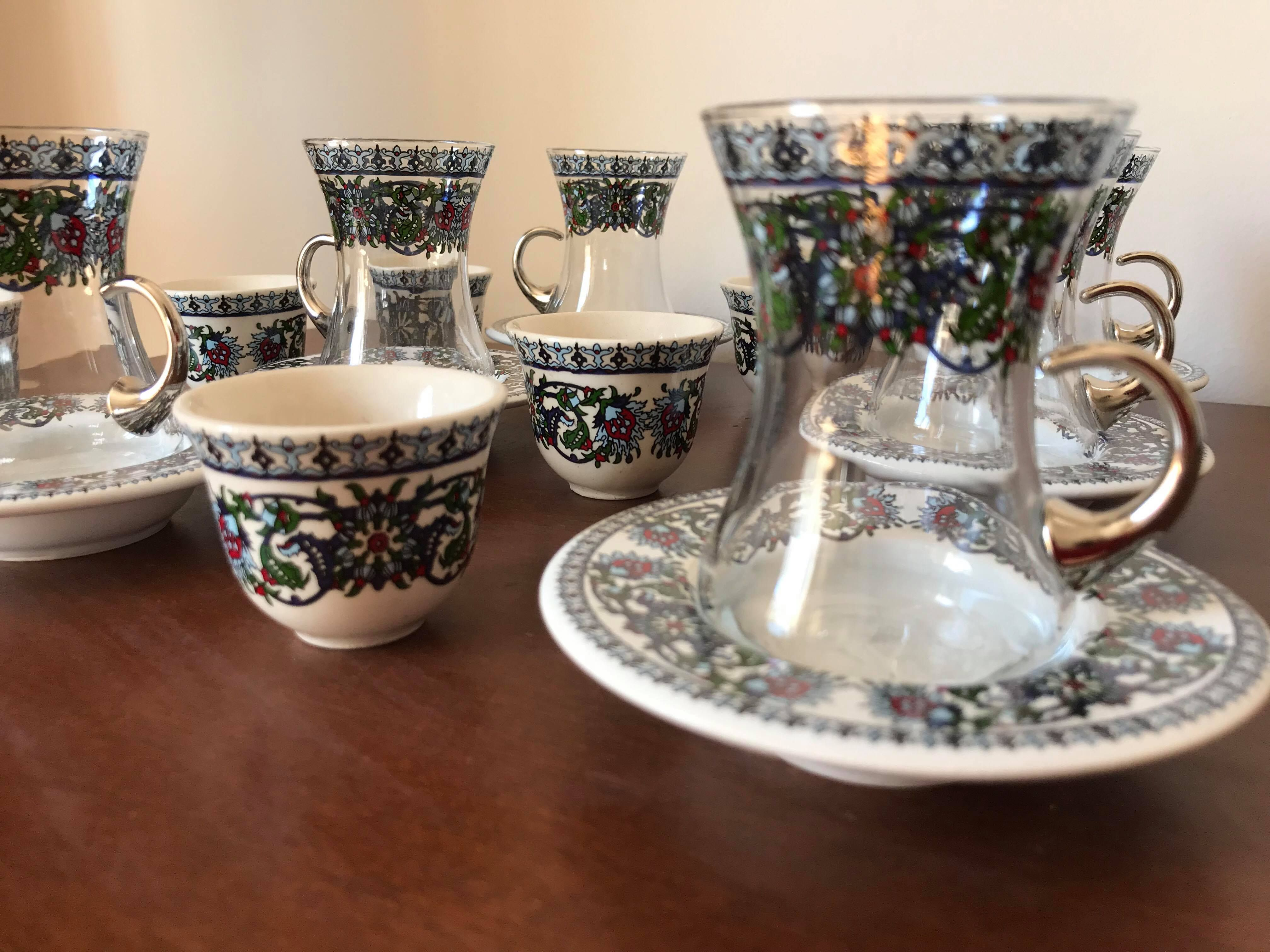 Details about Turkish Tea Coffee Set (of 6) Porcelain Cups