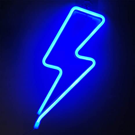 Orgrimmar Neon Light Lightning Bolt Blue Led Neon Signs Decorative Wall Light Battery And Usb Powered Night Light Fo Neon Signs Led Neon Signs Blue Neon Lights