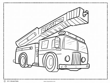 Fire Truck Coloring Page With Images Truck Coloring Pages