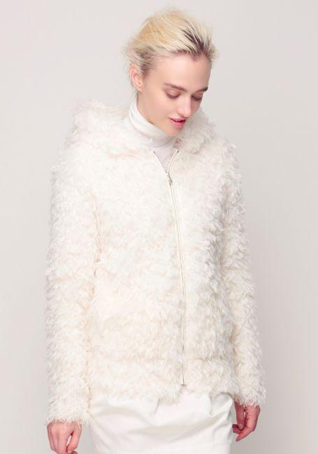 Fake Fur Jacket, Silk Wool Turtleneck and Cocoon Skirt