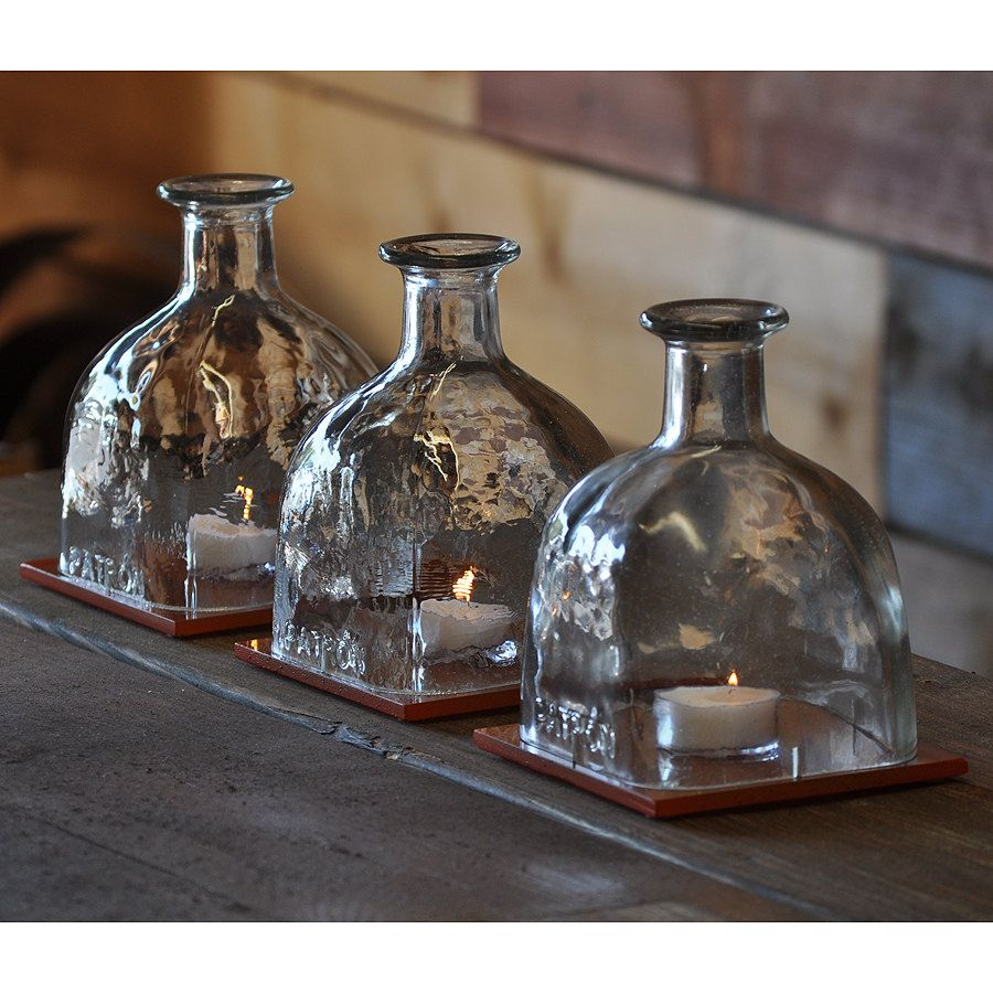 Liquor Bottle Centerpieces: Easy Table Lamp Crafts For Christmas: Candle In A Wine