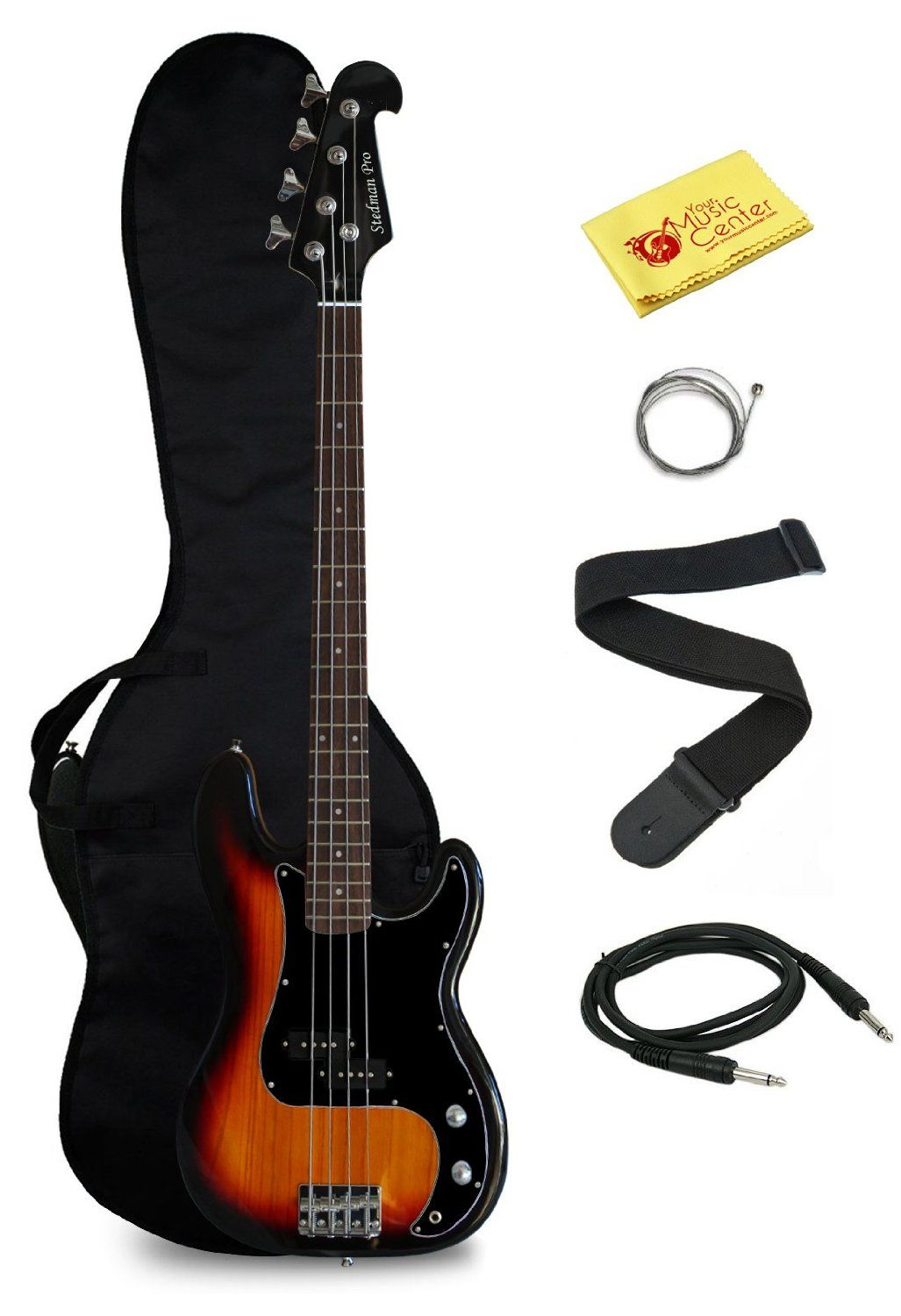 Electric bass guitar with gig bag and