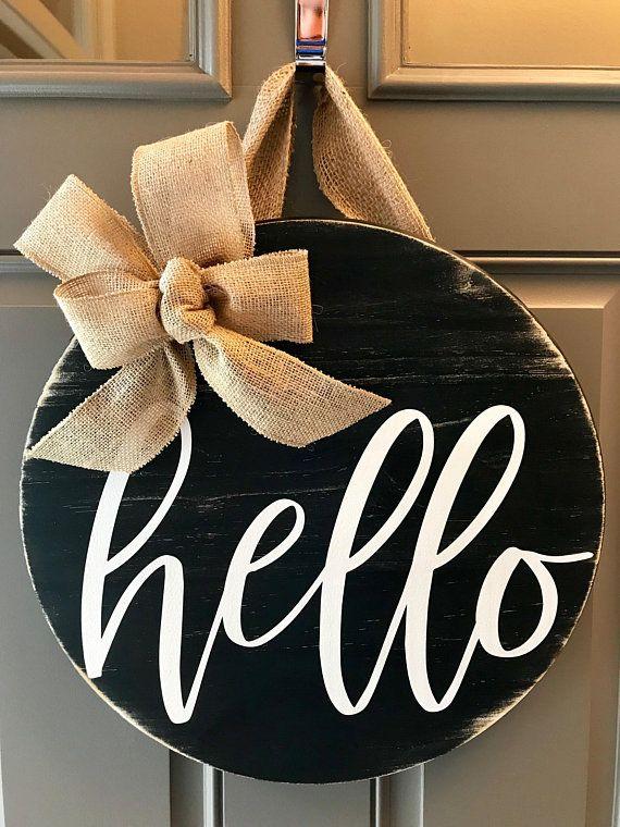Front Door Decor, Door Wreath, Housewarming Gift, Wood Door Hanger, Hello Sign, Front Door Wreath, B -   21 long porch decor ideas